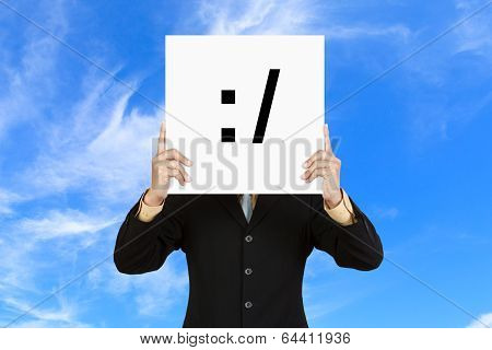 Businessman Hold Board With Unsure Face Emoticon