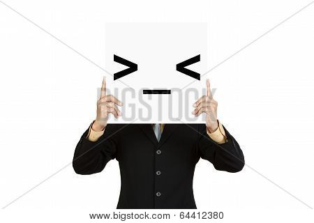 Businessman Hold Board With Grumpy Face Emoticon