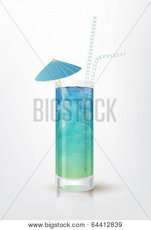 Illustration of the Blue Long Island cocktail