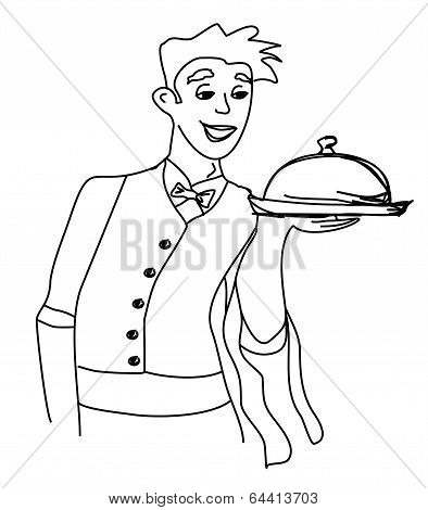 Cartoon Waiter - Funny Doodle Illustration
