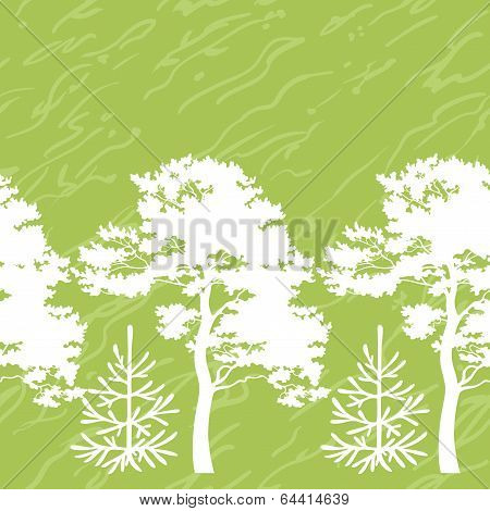 Seamless trees silhouettes and abstract pattern