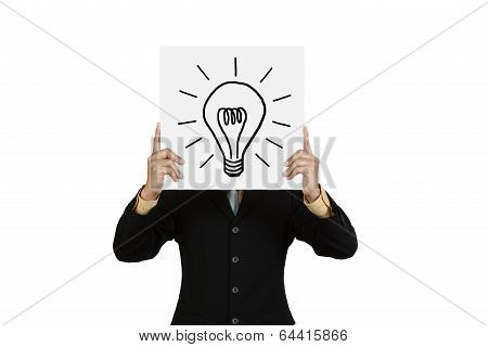 Businessman With Lightbulb On Board
