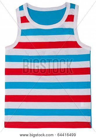 Sleeveless unisex shirt isolated on white
