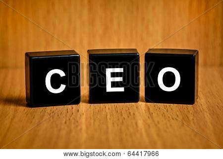Ceo Or Chief Executive Officer Word On Black Block
