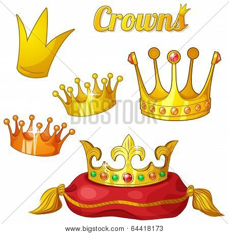 Set of royal gold crowns isolated on white