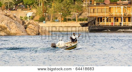 Nile River commercial life by Aswan City with Boats