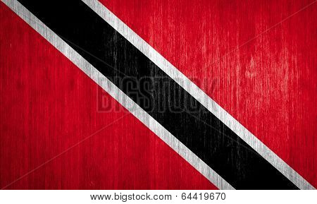 Trinidad And Tobago Flag On Wood Background