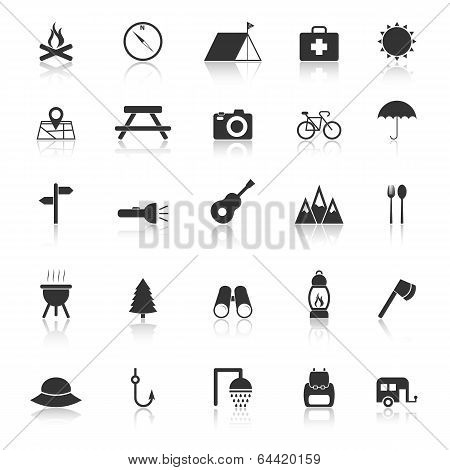 Camping Icons With Reflect On White Background