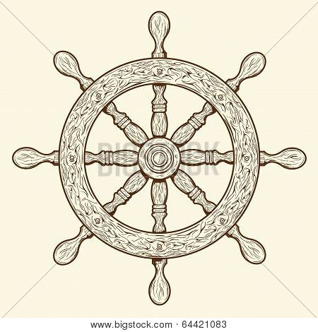 Detailed Brown Outlines Nautical Rudder Isolated On Beige Background. Ship Element. Vector Illustrat