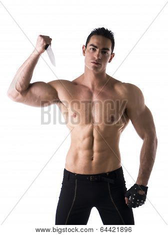Muscular Young Man Holding Big Knife