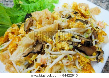 Stir Fry Fish Maw With Egg And Vegetable In Chinese Style