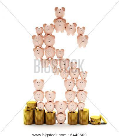 Piggybanks Creating A Dollar Sign