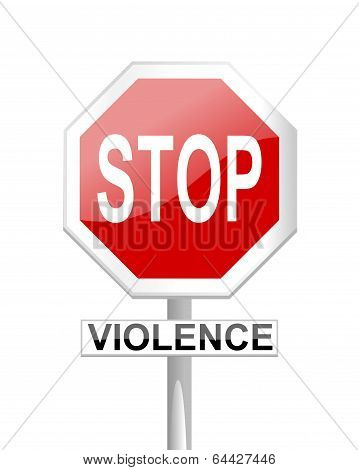 Stop sign with supplementary tables violence