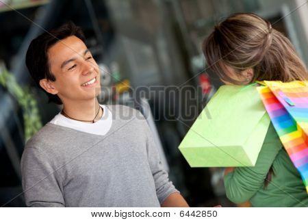 Shopping Couple Talking