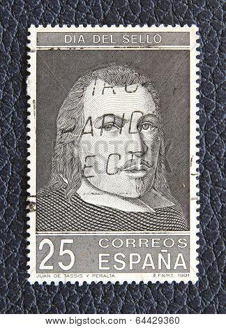 Spain - Circa 1991: A Stamp Printed In The Spain, Shows Juan De Tassis Y Peralta (1582- 1622), Circa