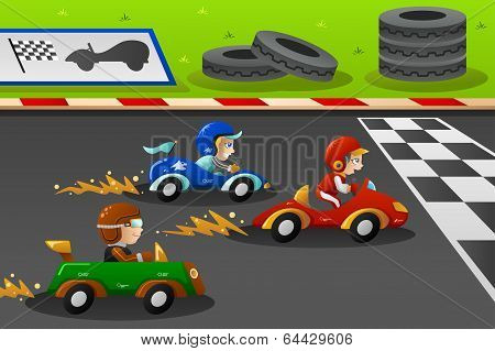 Kids In A Car Racing