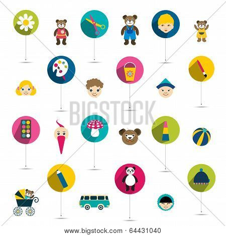 collection of children flat icon, toys. Vector isolated.