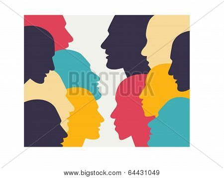 Human profile head in dialogue. Simply flat design. Vector illustration.