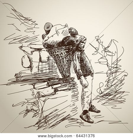 Nepali porter with basket have rest. Hand drawn illustration