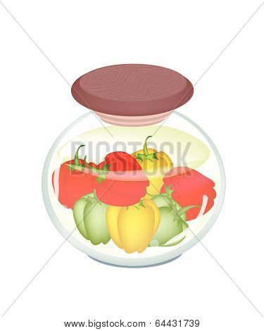 A Jar Of Delicious Pickled Bell Peppers