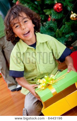 Kid Opening A Gift