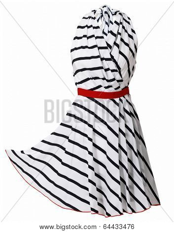 striped dress isolated on white