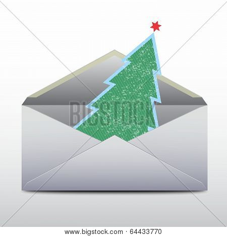 Envelope with an a fur-tree inside