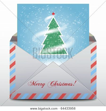 Envelope with an a fur-tree inside, Merry Christmas icon.