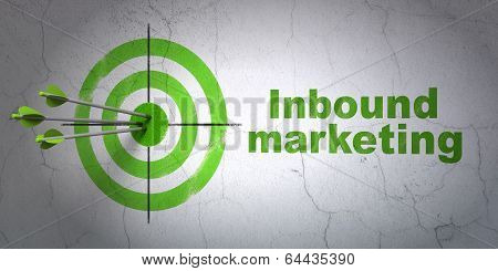 Business concept: target and Inbound Marketing on wall background