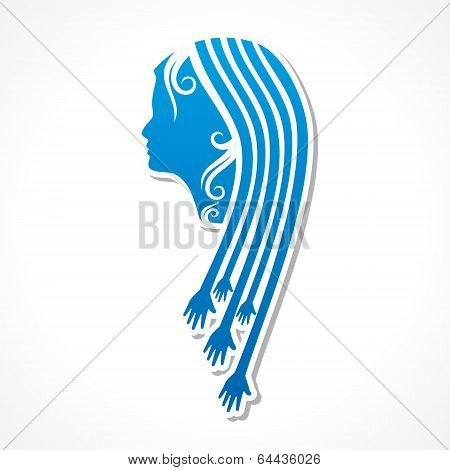 Beauty and fashion icon with hand stock vector