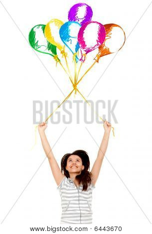 Girl Floating With Balloons