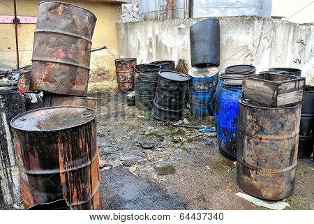 Old colored barrels