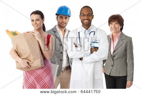 Small group of happy people with diverse ethnics and occupations, white background.