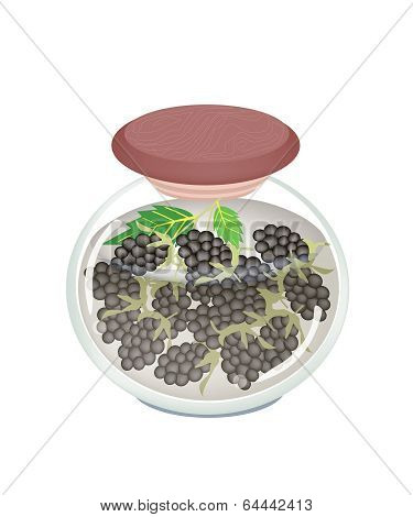Jar Of Preserved Blackberries Or berry Jam