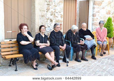 GREECE - CRETE - MALIA - CIRCA MAY 2011: Elderly women seek each other's company.
