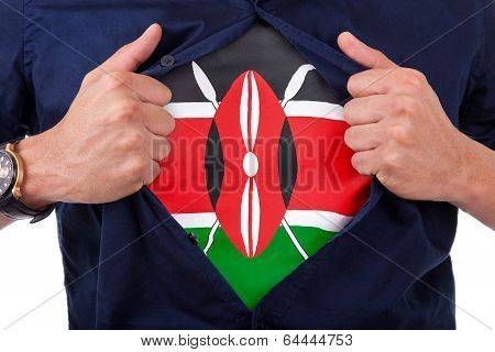 Young Sport Fan Opening His Shirt And Showing The Flag His Country Kenya, Kenyan Flag