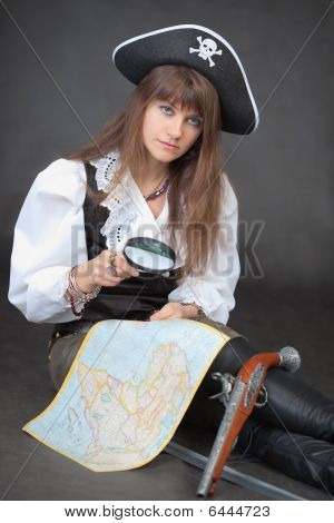 Woman - Pirate With Sea Map And Magnifier Glass