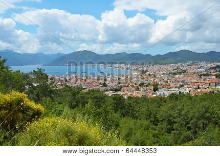 Aerial view to the bay and the city of Marmaris, Turkey