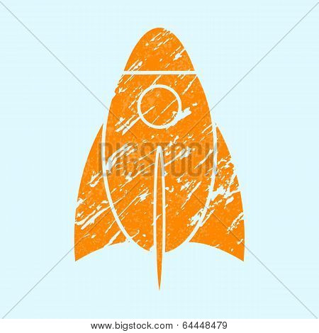 Stylized grunge rocket on a light background.