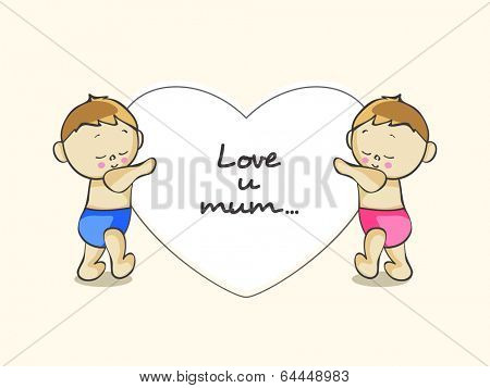 Poster, banner or flyer design with cute little kids holding heart and stylish text Love u mom.