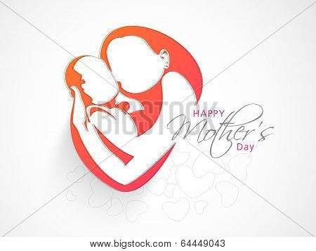 Happy Mother's Day celebration concept with illustration of a mother with her child on grey background.