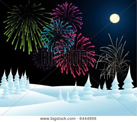 Winter Christmas Landscape With Fireworks