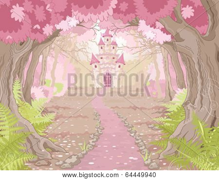 Fantasy landscape with magic fairy tale princess castle