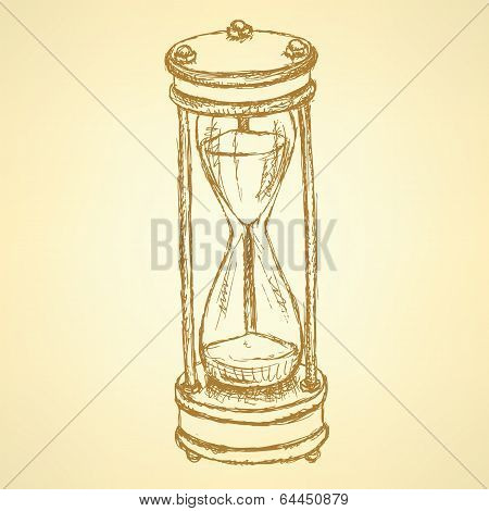 Sketch Sand Clock, Vector Vintage Background