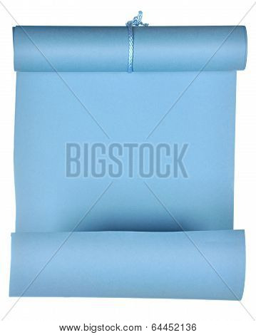 piece of blue paper rolled up in  roll isolated on white background