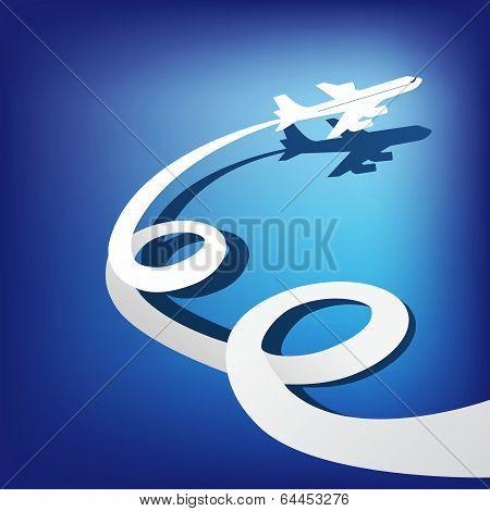 Airplane flies in the dark blue sky . Vector