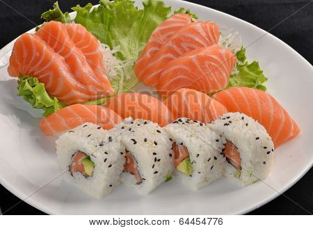 Sushi salmon fish and tuna fish rolls dish.Japanese food.