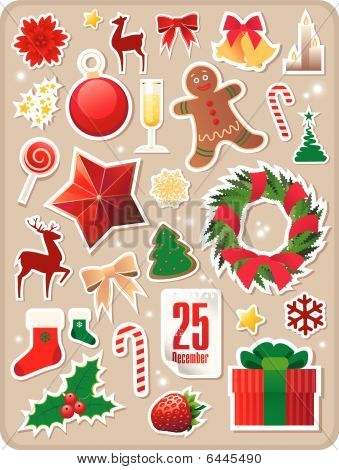 collection of  Christmas stickers