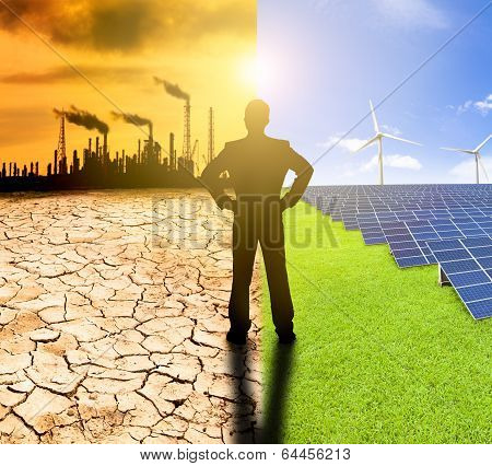 Pollution And Clean Energy Concept. Businessman Watching Windmills Solar Panels And Refinery With Ai