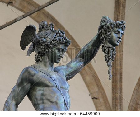 Perseus holding the head of Medusa Florence Italy